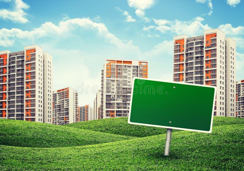 在青山和广告牌的高层建筑物 免版税库存照片