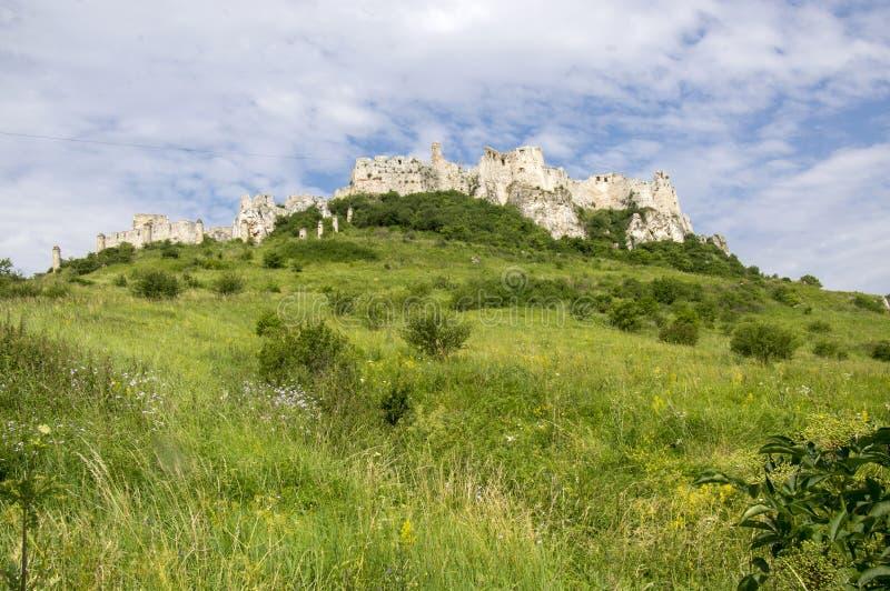 在青山的斯皮城堡在斯洛伐克 免版税图库摄影
