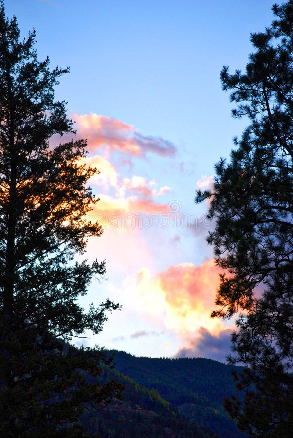 在青玉山的日落,蒙大拿 图库摄影