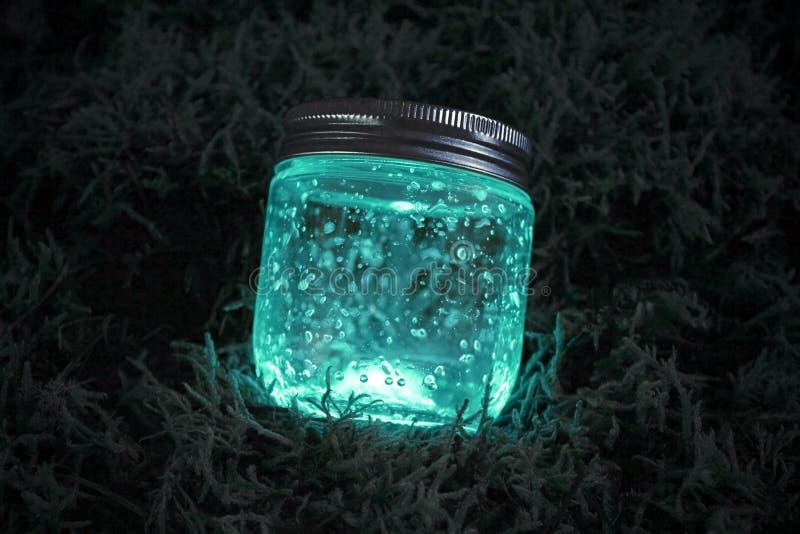 在青苔的蓝色发光的瓶子 免版税库存照片