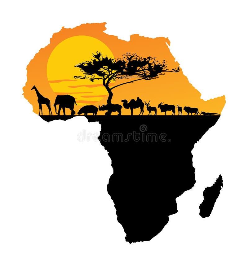 在非洲的地图的非洲动物 徒步旅行队日落 向量例证
