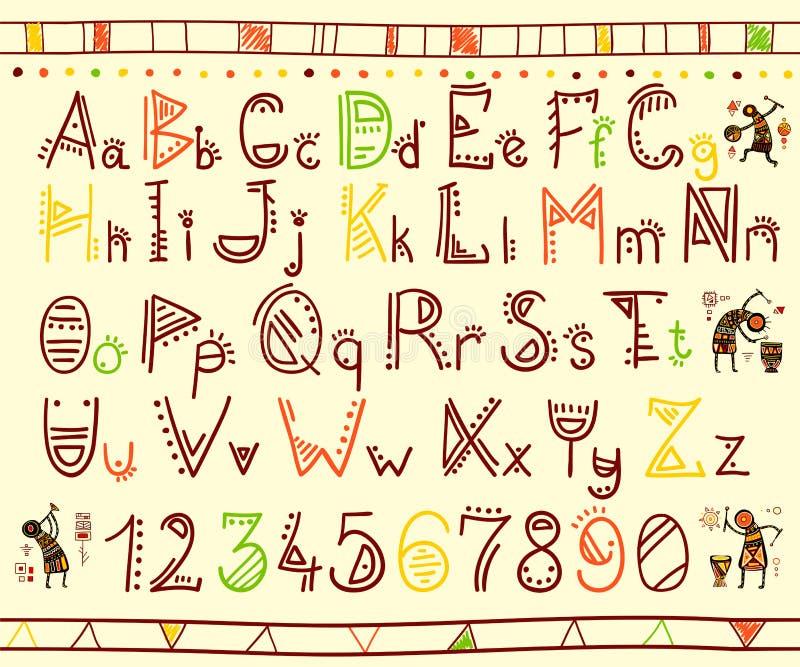 在非洲种族样式的字母表 皇族释放例证