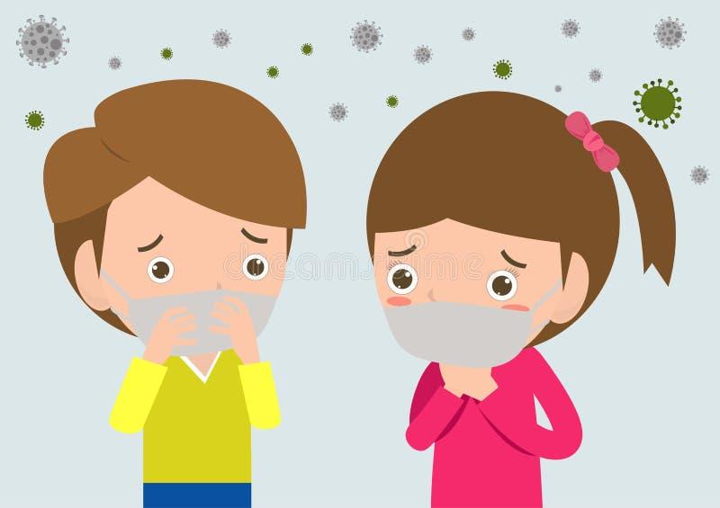 在面具的孩子由于美好的尘土,反对烟雾的男孩和女孩佩带的面具 美好的尘土,空气污染,工业烟雾保护c 向量例证