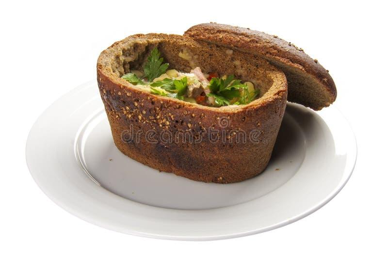 在面包'Bramborachka的'汤 一个传统捷克盘 免版税图库摄影