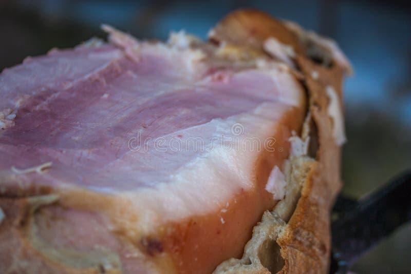 在面包烹调的火腿 库存图片
