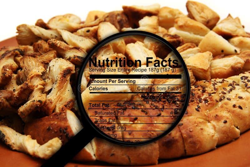 在面包的营养事实 库存图片