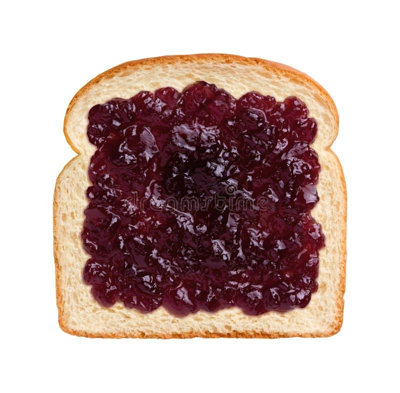 在面包的葡萄软糖 库存图片