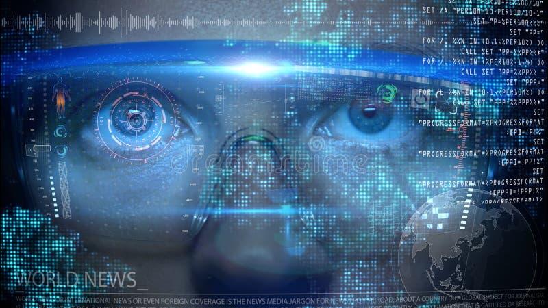 在面孔的未来派显示器与代码和信息全息图 眼睛hud动画 未来概念 图库摄影