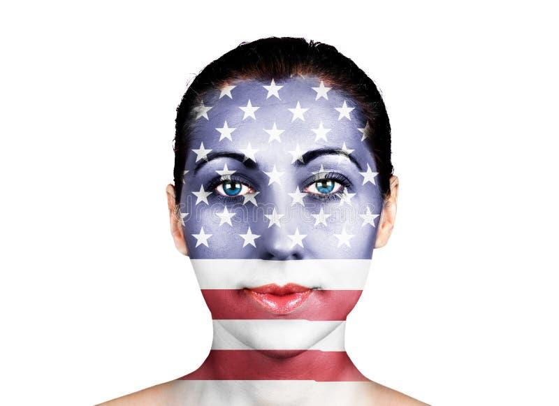 在面孔的美国旗子 免版税库存图片