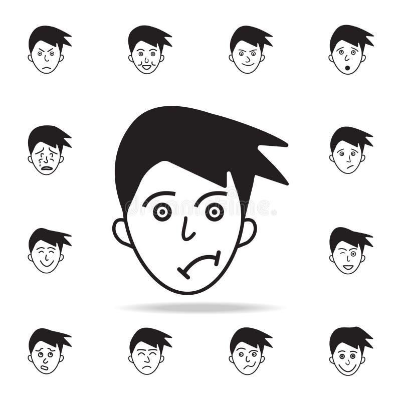 在面孔象的牢骚 详细的套面部情感象 优质图形设计 其中一个汇集象为 向量例证