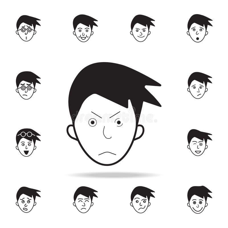 在面孔象的皱眉 详细的套面部情感象 优质图形设计 其中一个网站的汇集象,网 库存例证