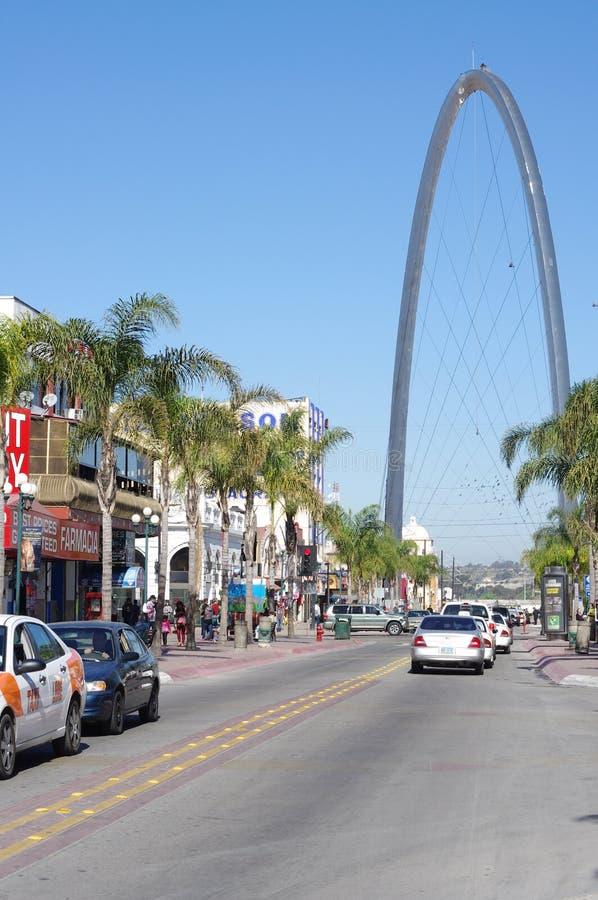 在革命大道的曲拱在提华纳,墨西哥 库存图片