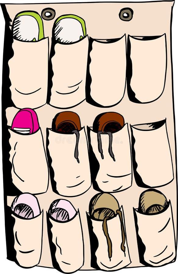 在鞋子组织者的鞋类 皇族释放例证