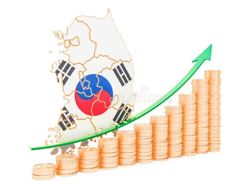 在韩国概念,3D的经济增长翻译 库存例证