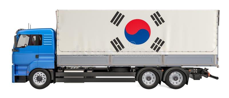 在韩国概念,3D的货物交付翻译 库存例证