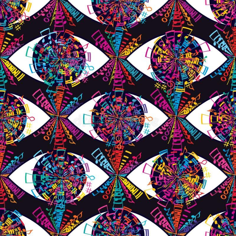 在音乐五颜六色的无缝的样式的眼睛 皇族释放例证