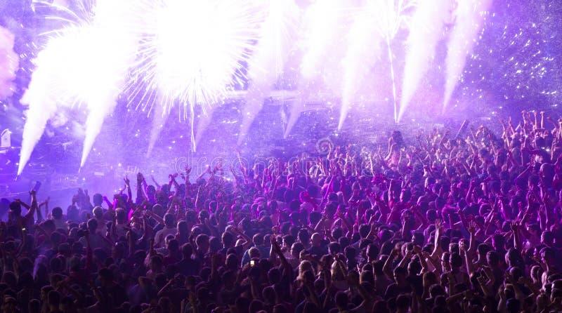 在音乐会的巨大的欢呼的人群 免版税库存照片