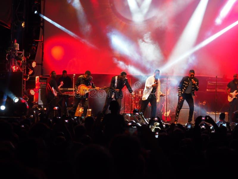 在音乐会的Jacksons 库存图片