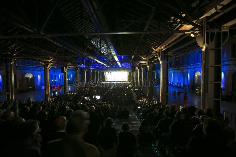 在音乐会的Kraftwerk 库存照片