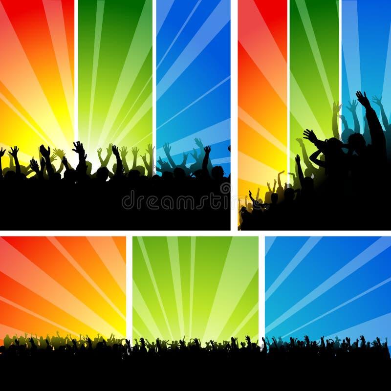 在音乐会集的人群 库存例证