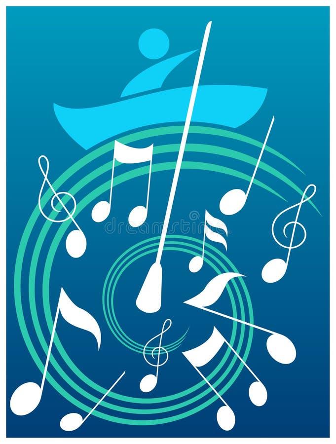 在音乐波浪的人的航行  皇族释放例证