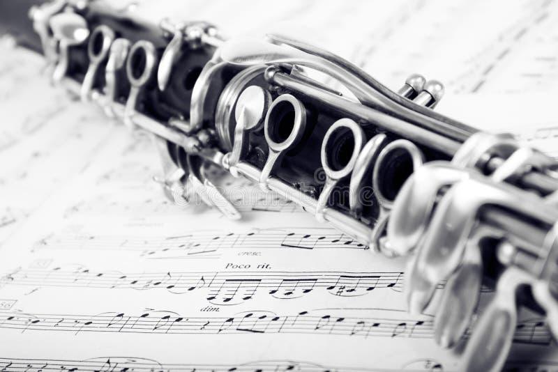 在音乐的单簧管 库存图片
