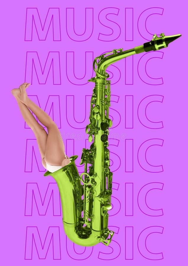 在音乐的浸没 现代的设计 当代艺术拼贴画 图库摄影