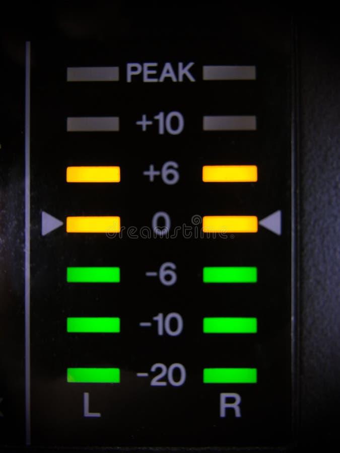 在音频搅拌器的显示灯 库存图片