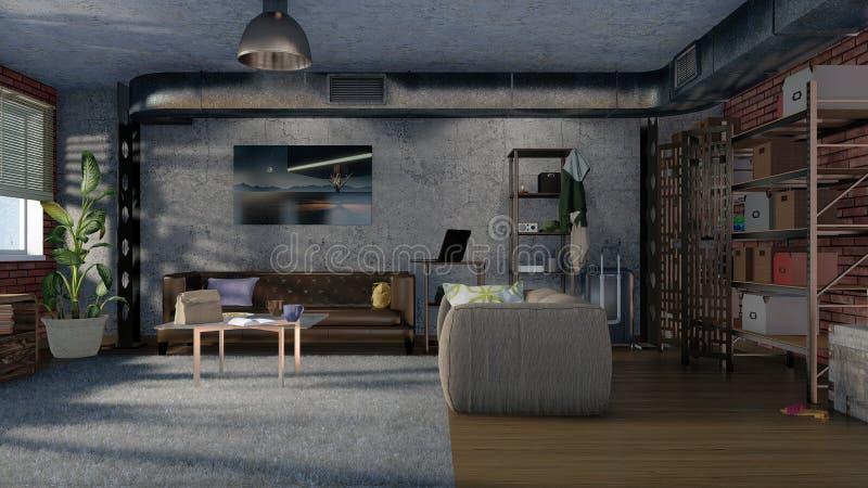 在顶楼公寓3D设计的客厅内部 向量例证