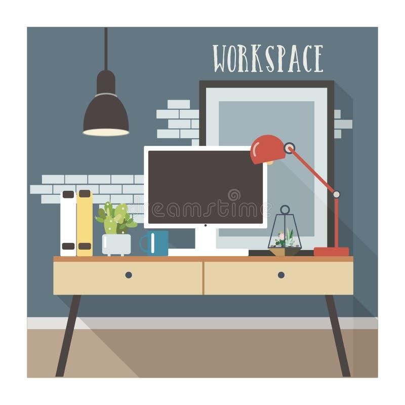 在顶楼样式的现代工作场所内部 向量例证