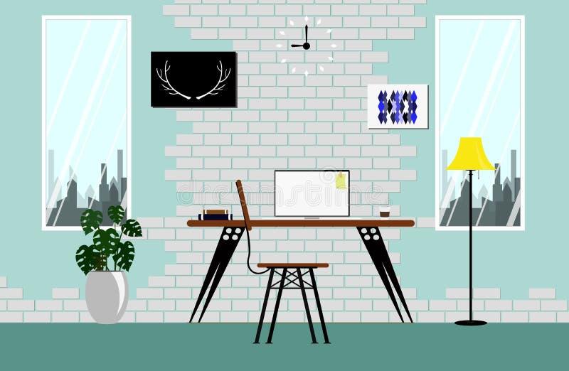 在顶楼空间的内部与白色葡萄酒砖墙颜色天空 与木桌膝上型计算机灯时钟传染媒介的现代舒适工作区 皇族释放例证