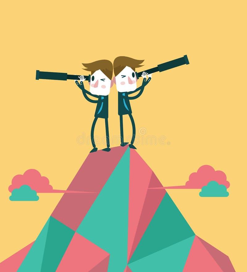在顶面峰顶的商人与望远镜 企业视觉和配合的概念 皇族释放例证