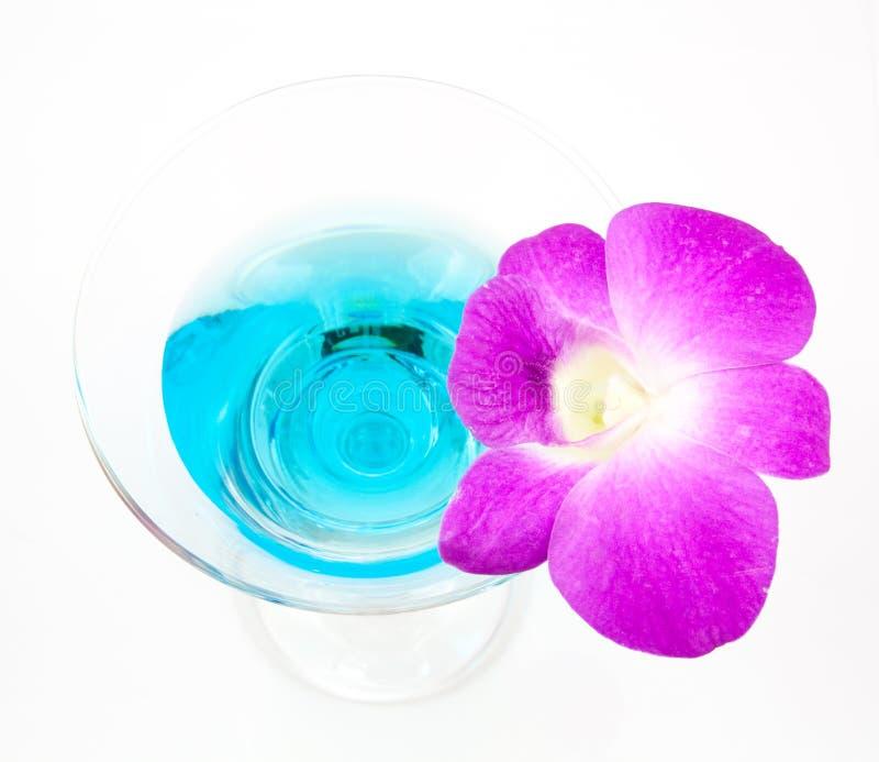 在顶面蓝色玛格丽塔酒鸡尾酒 库存图片