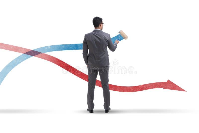 在预测概念的商人图画图 图库摄影