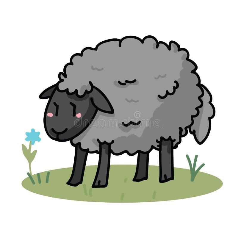 在领域动画片传染媒介例证主题集合的逗人喜爱的灰色绵羊 手draawn被隔绝的农业家畜元素clipart为 向量例证