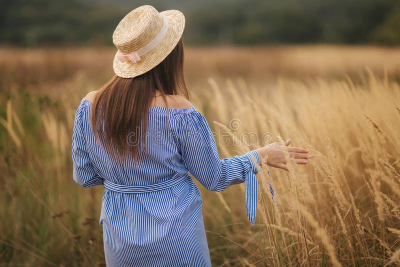 在领域的嫩孕妇步行 有帽子的夫人在蓝色礼服 放松时间 妇女等待婴孩 库存图片