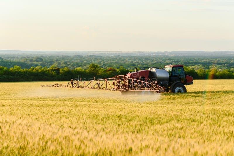 在领域的工作 喷洒的化学制品和施肥麦子 库存照片