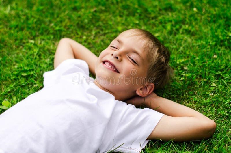 在领域的微笑的小男孩 库存图片