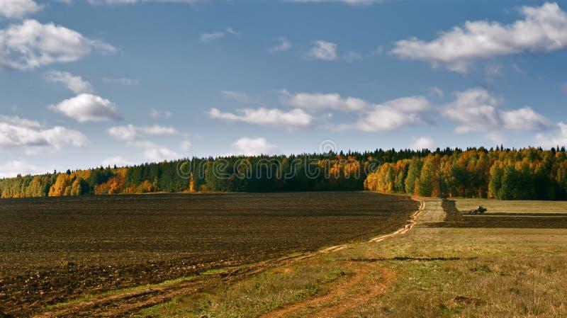 在领域的拖拉机犁地球 免版税库存照片