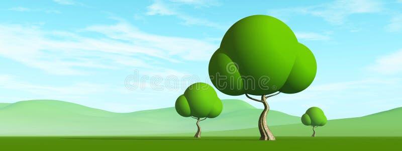 在领域的树 免版税库存图片