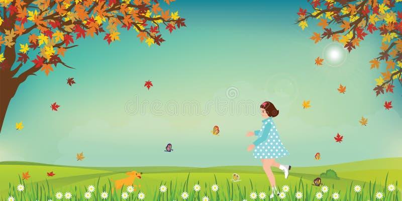 在领域的逗人喜爱的小女孩和狗传染性的蝴蝶在晴朗 向量例证