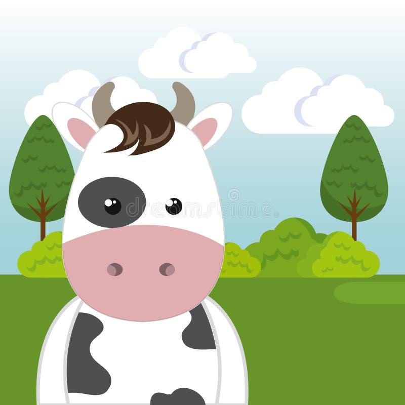 在领域风景字符的逗人喜爱的母牛 向量例证