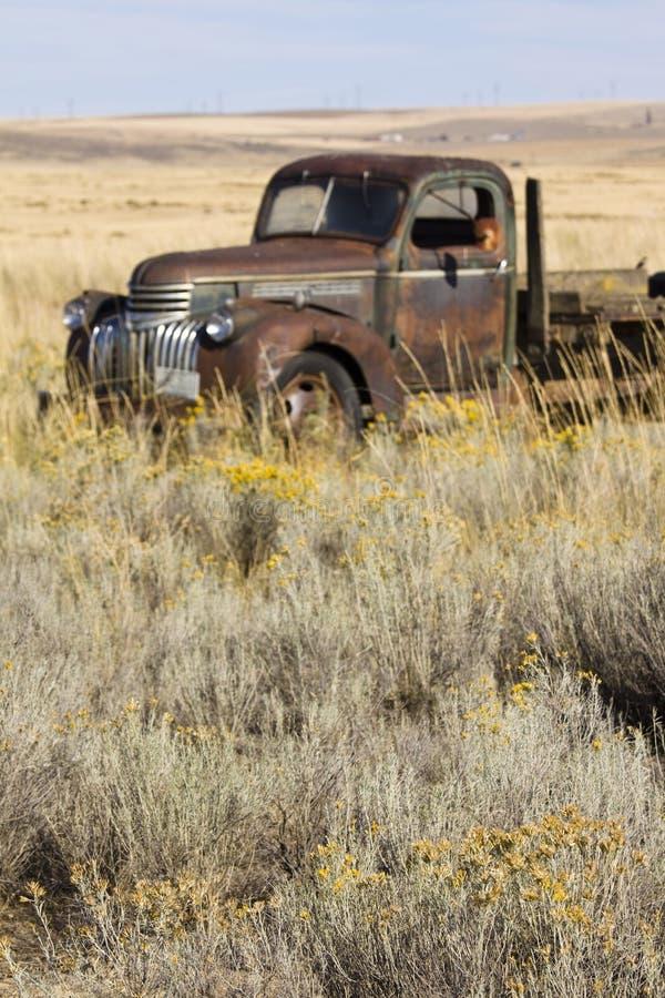 在领域,复活节的被放弃的生锈的20世纪40年代时代薛佛列农厂卡车 库存图片