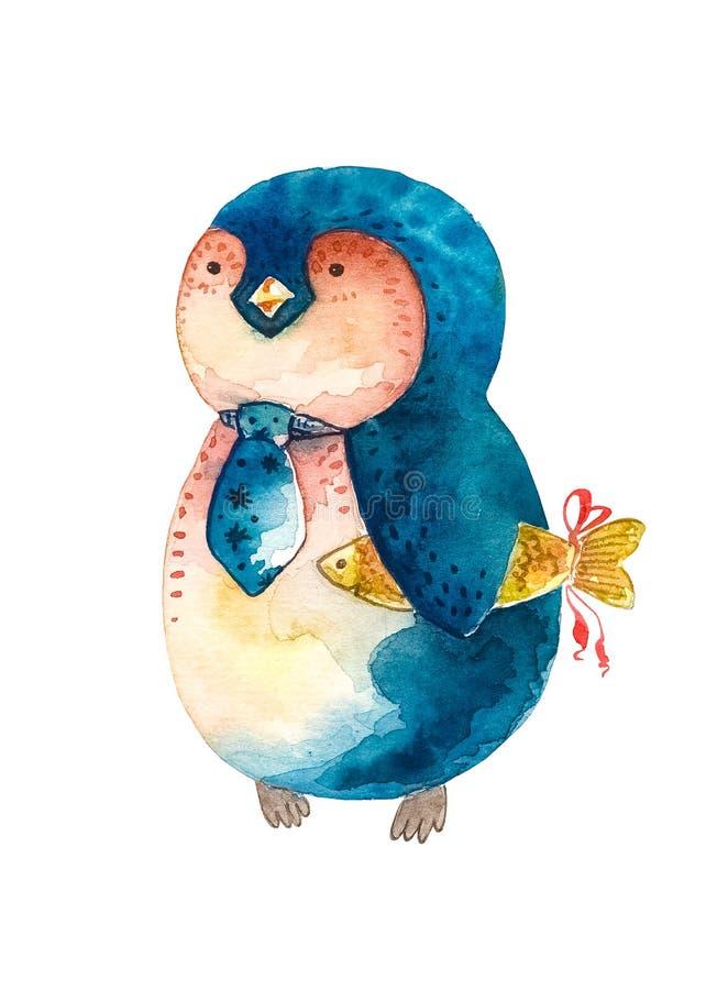 在领带的动画片企鹅和一个金鱼在他的手上 奶油被装载的饼干 向量例证