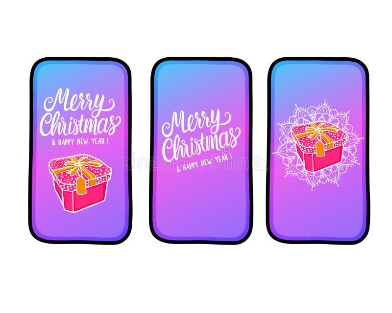 在题字和礼物盒上写字在新的电话的圣诞快乐 另外的横幅是能被更改的格式销售额 在空白背景查出的向量例证 库存例证
