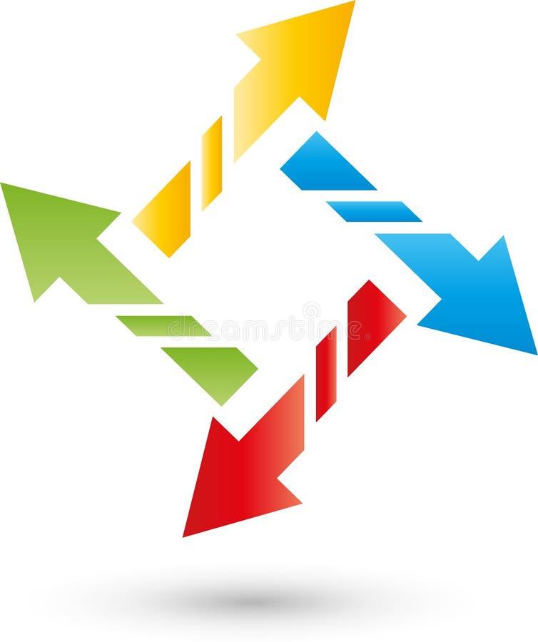 在颜色、方向和下载商标的四个箭头 向量例证