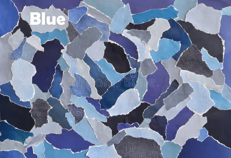 在颜色想法蓝色,灰色,白色和牛仔布的创造性的大气艺术心情委员会拼贴画板料由被撕毁的杂志纸制成 免版税库存图片