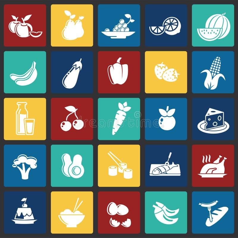 在颜色正方形背景的健康食品象图表和网络设计的,现代简单的传染媒介标志 背景蓝色颜色概念互联网 时髦 库存例证