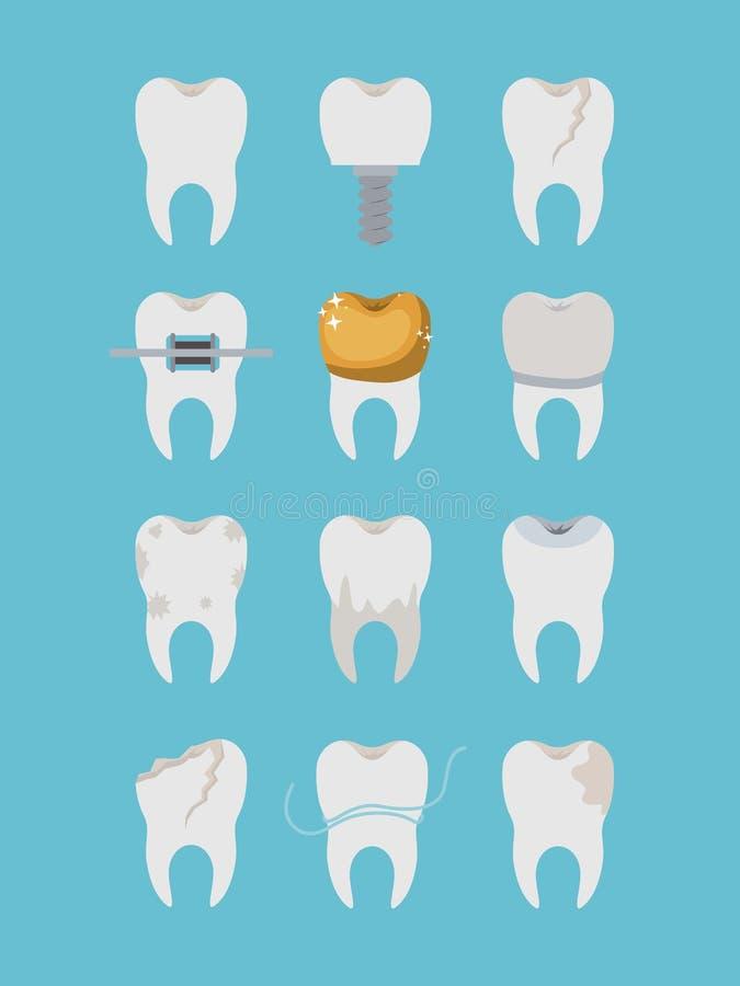 在颜色海报设置的牙另外类型 库存例证