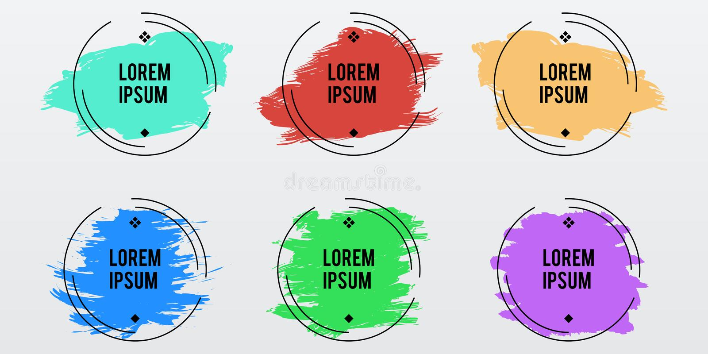在颜色淡色刷子冲程,传染媒介se的时髦圆的框架 库存例证